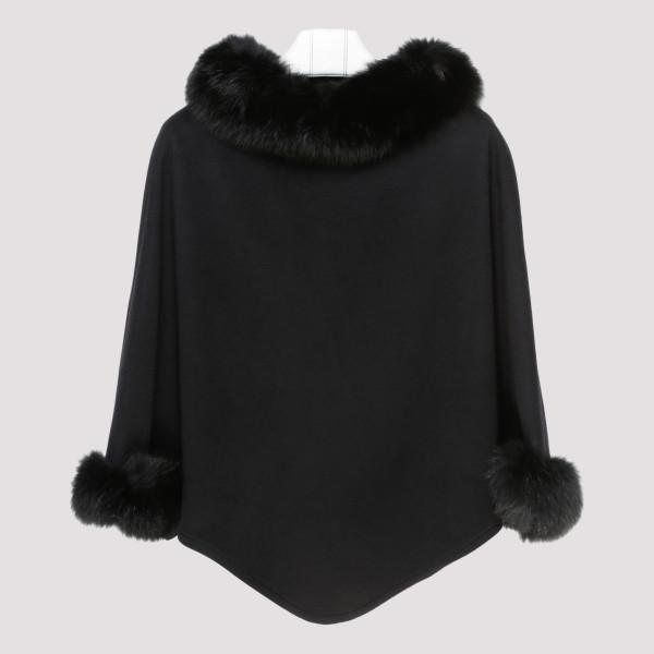 Black fur cape coat