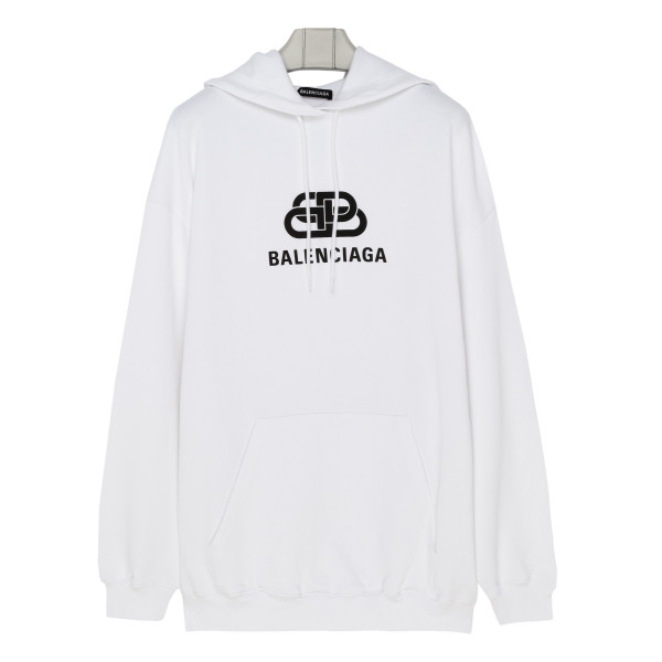 White cotton hoodie with logo