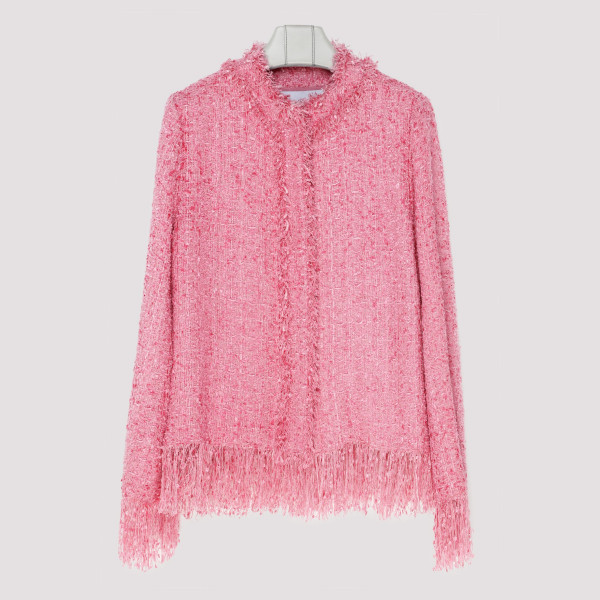 Pink tweed jacket with fringes