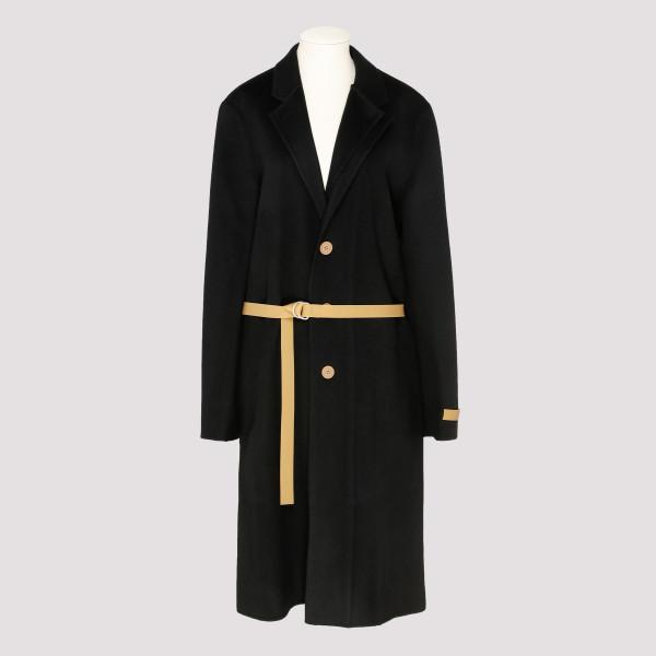 Black coat with side slits
