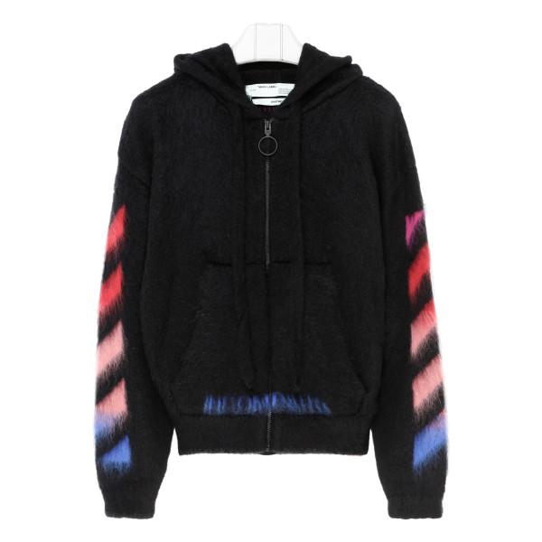 Diag brushed zipped hoodie