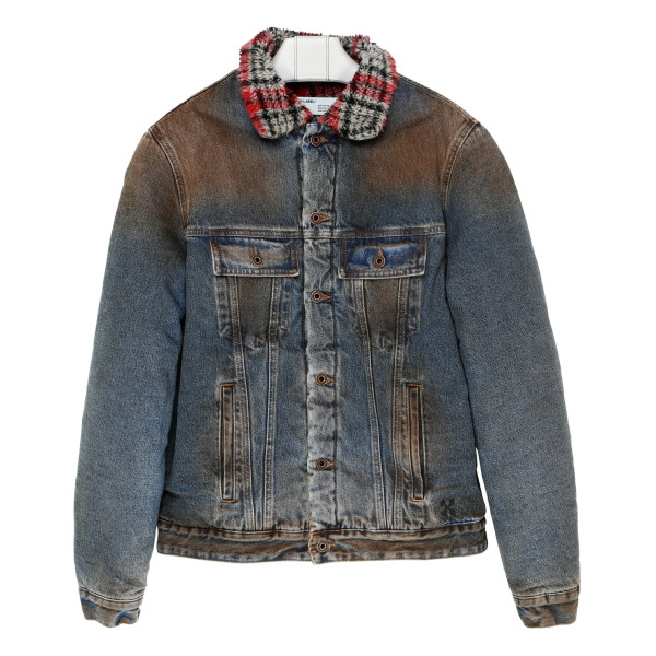 Distressed Faux Shearling-Lined Denim Jacket