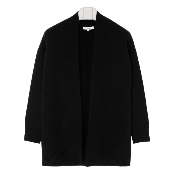 Black wool and cashmere blend cardigan