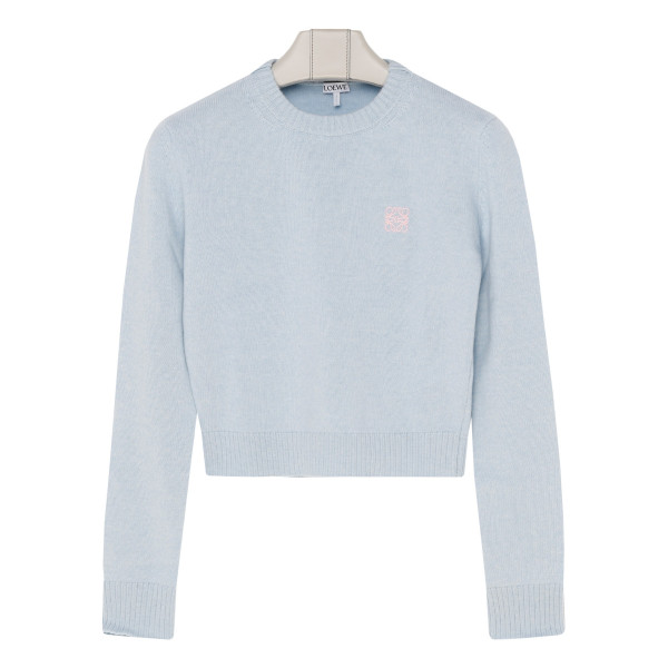 Light blue cropped anagram sweater