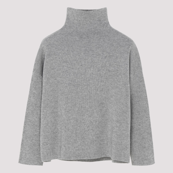 Gray funnel neck sweater