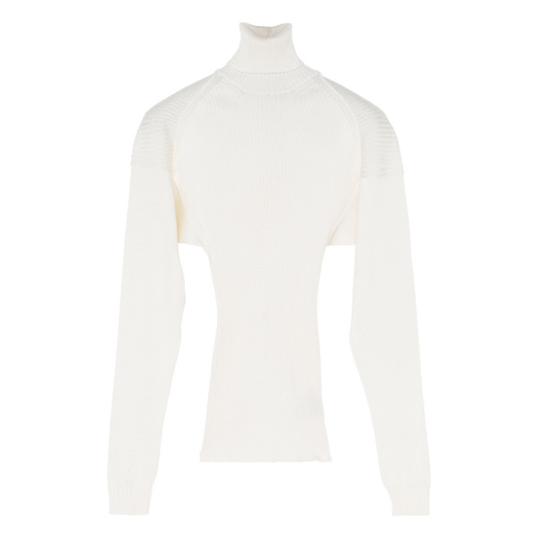 White knitted silk sweater