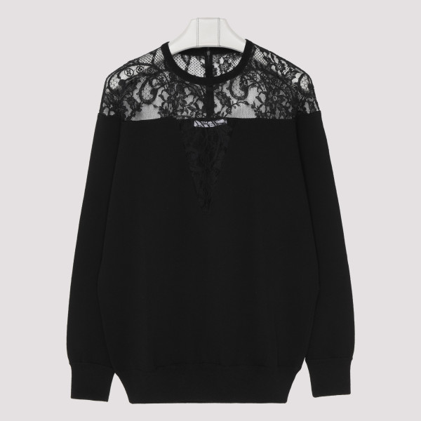 Black viscose sweater with...