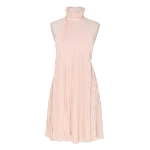 Halter-neck pleated dress