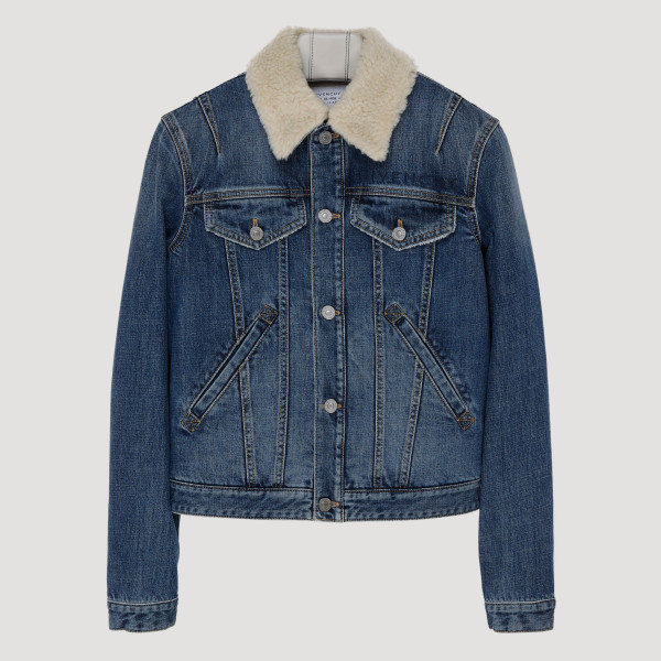 Denim jacket with shearling...