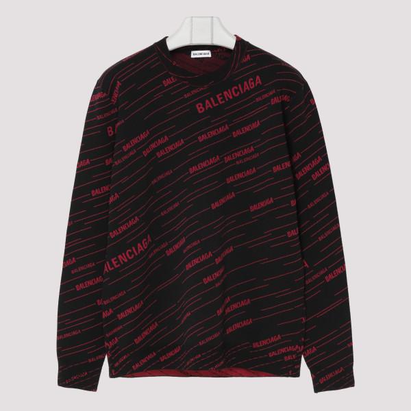 Diagonal logo black sweater