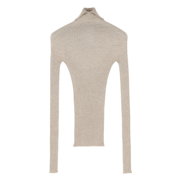 Cream ribbed-knit sweater