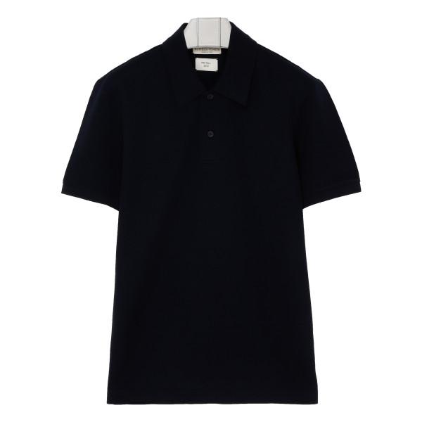 Black pique cotton polo
