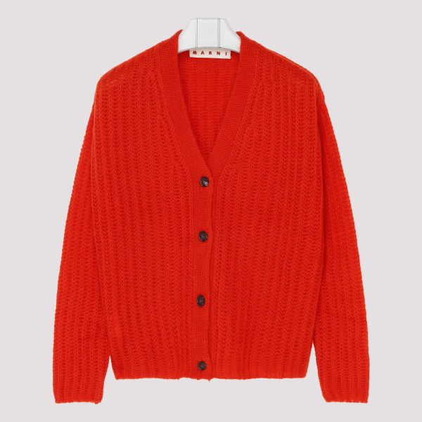 Ribbed cardigan in red mohair