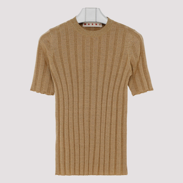 Lurex ribbed-knit sweater