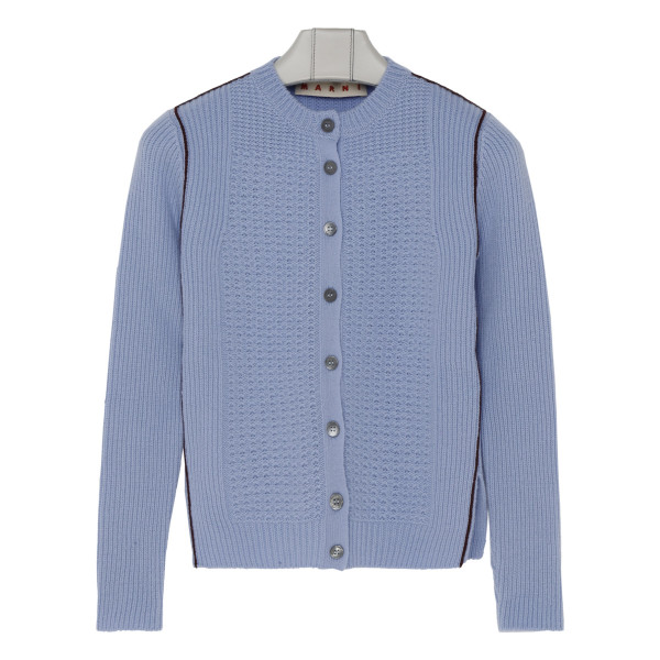 Mixed-stitch cardigan in pale blue