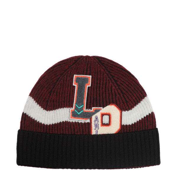Black and burgundy cap with logo