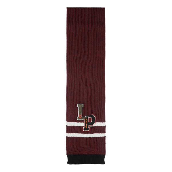 Burgundy wool scarf with logo