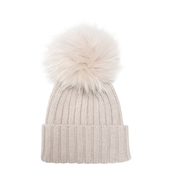 Beige wool beanie