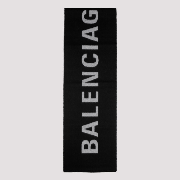 Black wool scarf with logo