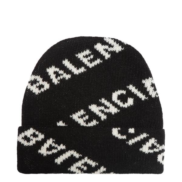 Black beanie with logo jacquard