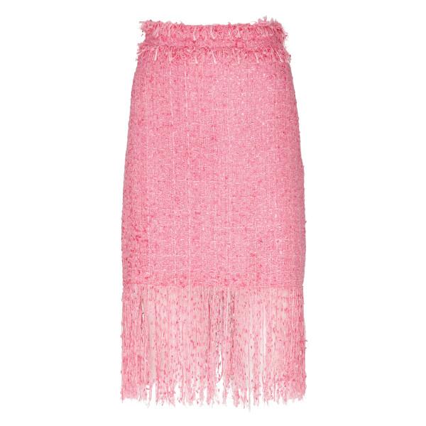 Pink tweed fringed mini skirt