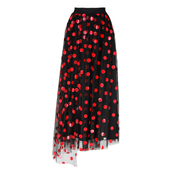Black pleated skirt with red polka dots