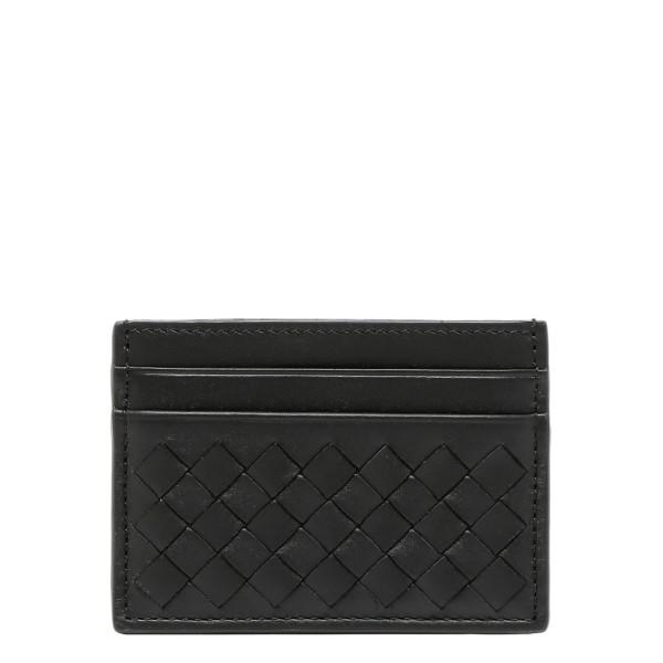 Black intrecciato nappa card-holder