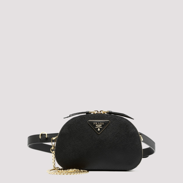 Black Odette Saffiano leather belt bag
