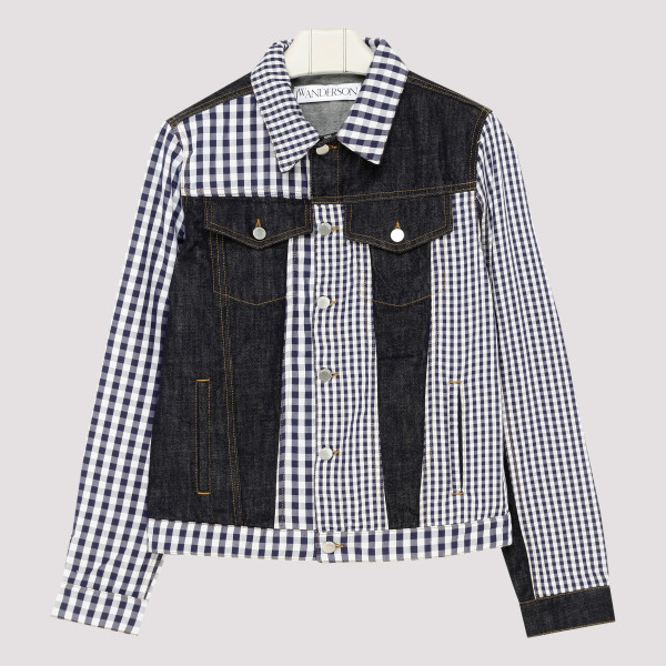 Gingham patchwork denim jacket