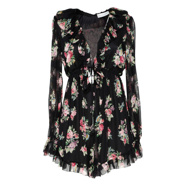 Honour Floating Ruffled Floral playsuit