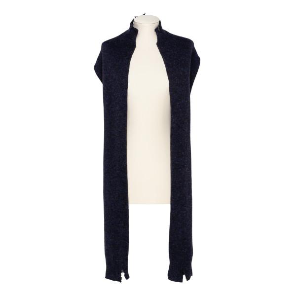Navy wool shawl-scarf