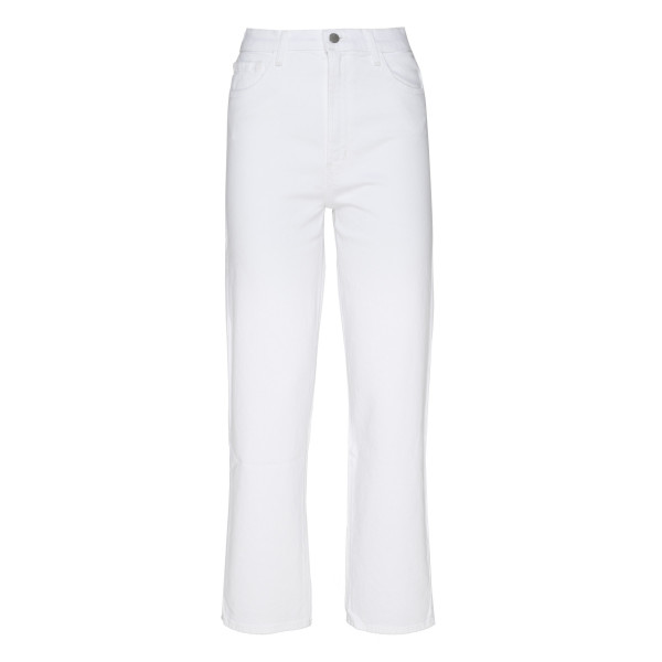 White High Rise Straight Leg Jeans