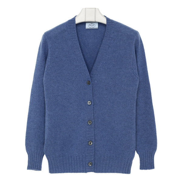Blue cashmere buttoned sweater