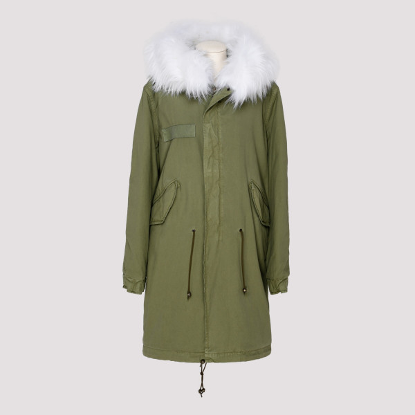 Army fur parka jacket
