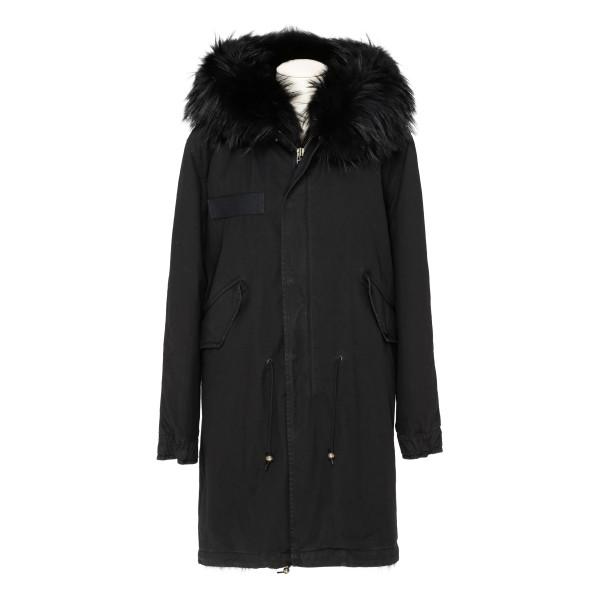 Black fur long parka jacket