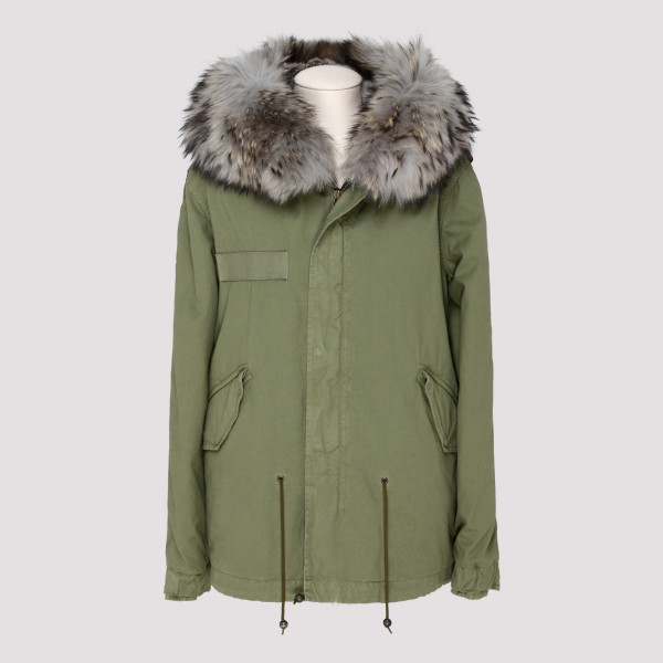 Army fur short parka jacket