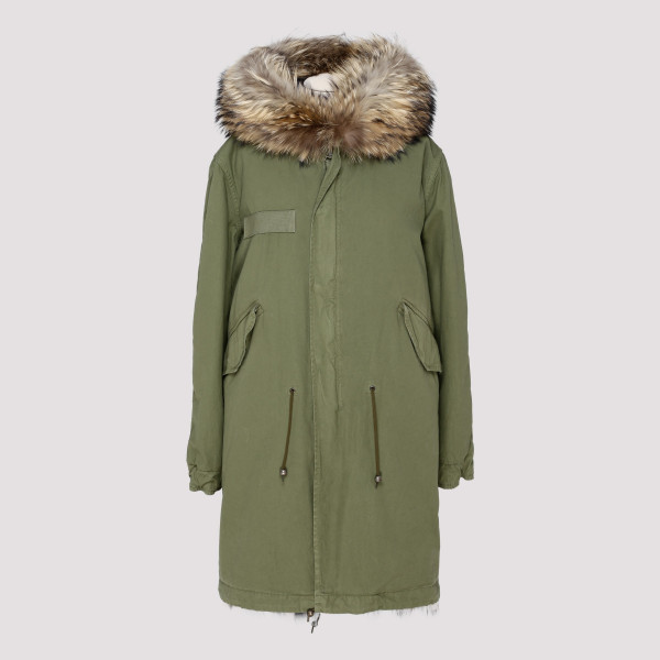 Mr & Mrs Italy ARMY GREEN FUR LONG PARKA JACKET