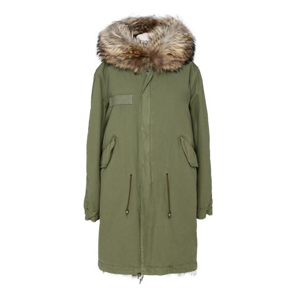 Army green fur long parka jacket