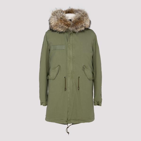 Army green fur parka jacket