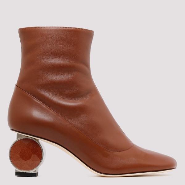 Sculptural heel leather...