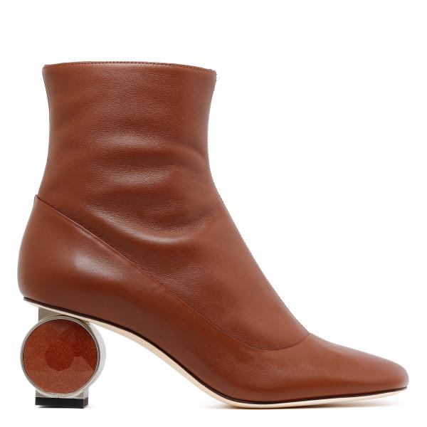 Sculptural heel leather booties