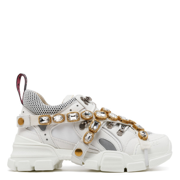 White Flashtrek sneakers with detachable crystals