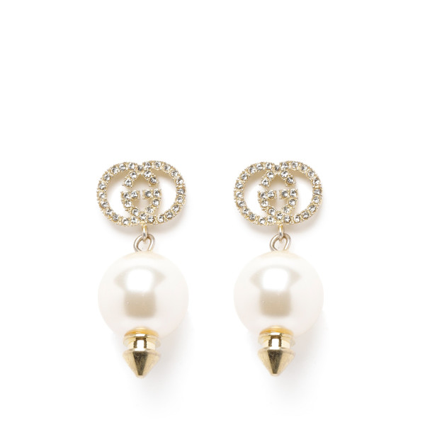 Interlocking G earrings with pearl