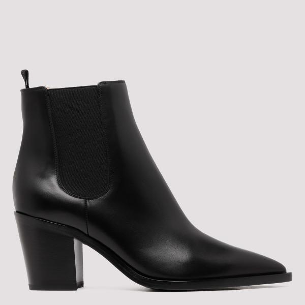 Romney black leather booties