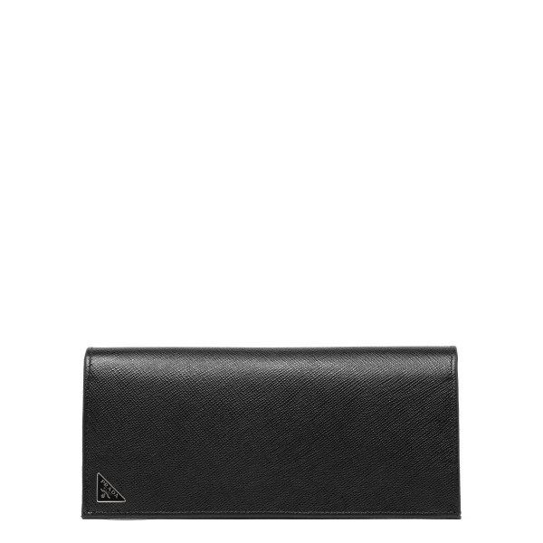 Black saffiano leather vertical wallet