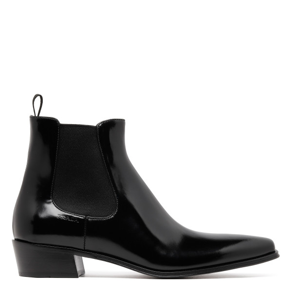 Black patent leather booties