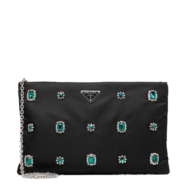 Embellished black nylon pouch