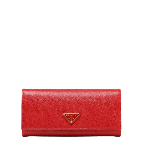 Red saffiano continental wallet
