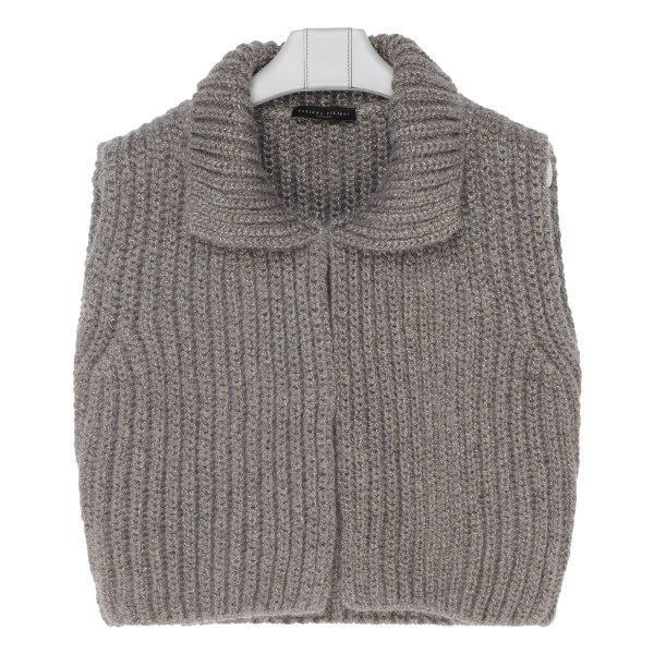 Gray mohair ribbed vest