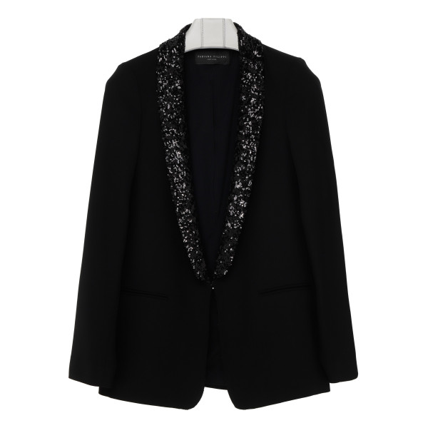 Black wool blazer with sequins